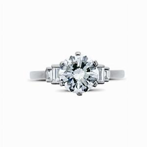 Brilliant Cut Vintage Engagement Ring With Baguette Step Down Shoulders 1.12ct G SI1 LFGD